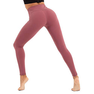 CLUCI High Waist Yoga Leggings Women Active Workout Pants Athletic Running Tummy Control Non-See Through 4 Way Stretch with Inner Pocket Pale Red Violet XX-Large(XXL) - Fitness Gear