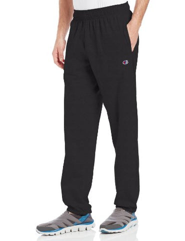 Champion Men's Closed Bottom Light Weight Jersey Sweatpant, Black, Small