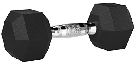 Image of AmazonBasics Rubber Encased Hex Dumbbell Weight - 12 x 4.9 x 4.4 Inches, 20 Pounds, Pack of 1 - Fitness Gear