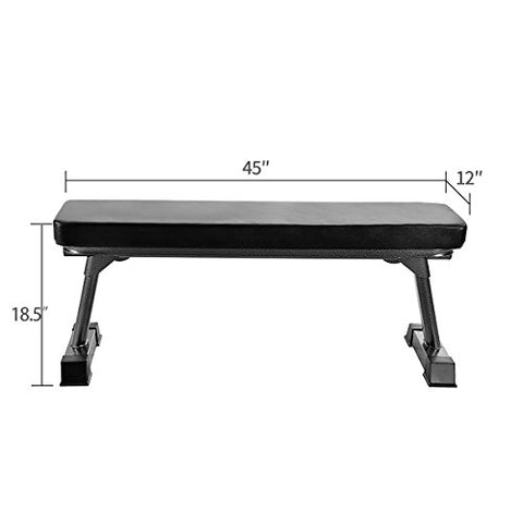 Image of Finer Form Gym Quality Foldable Flat Bench for Multi-Purpose Weight Training and Ab Exercises - Fitness Gear