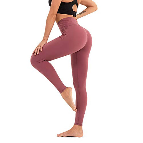 Image of CLUCI High Waist Yoga Leggings Women Active Workout Pants Athletic Running Tummy Control Non-See Through 4 Way Stretch with Inner Pocket Pale Red Violet XX-Large(XXL) - Fitness Gear