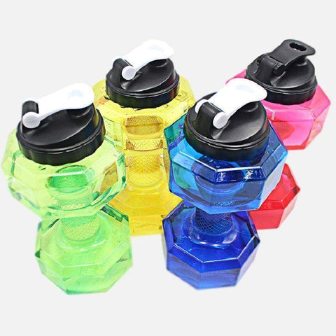 2.5L Dumbbells Shaped Plastic Big Large Capacity Gym Sports Water Bottle - Fitness Gear
