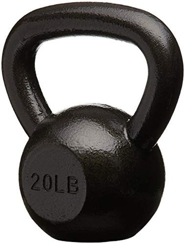 Image of AmazonBasics Cast Iron Kettlebell - 20 Pounds, Black - Fitness Gear