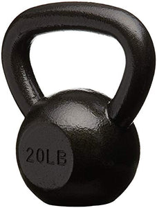 AmazonBasics Cast Iron Kettlebell - 20 Pounds, Black - Fitness Gear