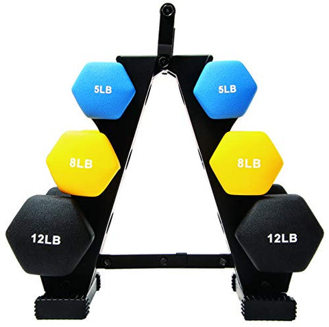 Image of BalanceFrom 50-Pound All-Purpose Dumbbell Set with Weight Rack - FitnessGearUSA.Com
