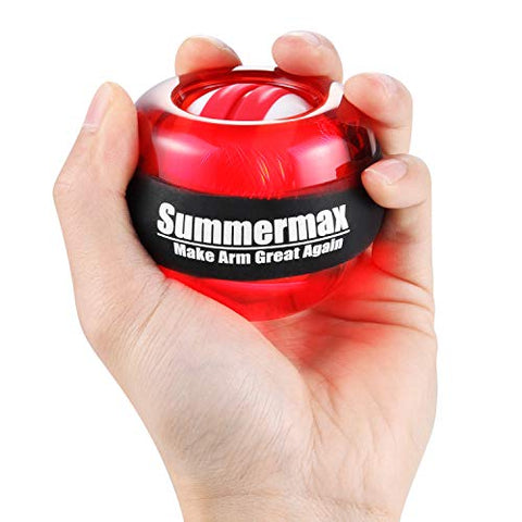 Image of Summermax Auto-Star Wrist Power Gyroscopic Ball,Wrist Strengthener and Forearm Exerciser for Stronger Arm Fingers Wrist Bones and Muscle (Auto Red) - Fitness Gear