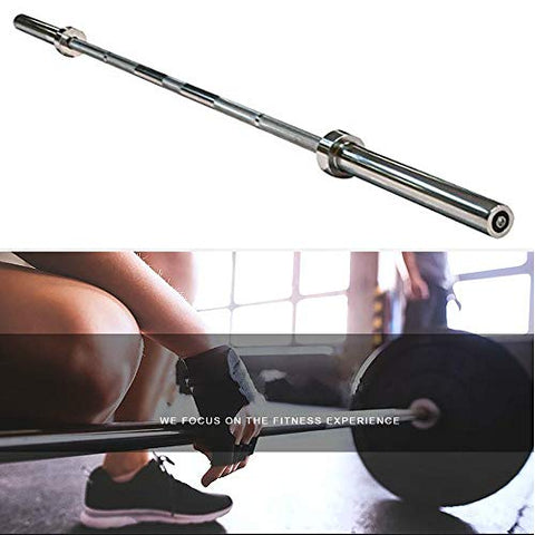 Image of Yaheetech Olympic 7 feet Weight Bar with Two Collars Solid Iron Weighted Workout Bar Barbell Weight Straight Bar for Home Gym Exercises - FitnessGearUSA.Com