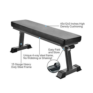 Finer Form Gym Quality Foldable Flat Bench for Multi-Purpose Weight Training and Ab Exercises - Fitness Gear