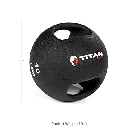 Image of Titan Fitness 10 lb Dual Grip Medicine Ball Rubber Muscle Driver Sport Double - FitnessGearUSA.Com