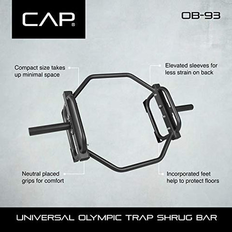 Image of CAP Barbell Olympic Trap Bar, Hex Bar, Shrug Bar, Deadlift Bar, Black - Fitness Gear
