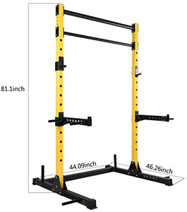 HulkFit Multi-Function Adjustable Power Rack Exercise Squat Stand with J-Hooks, Spotter Arms Dip Bars and Pull Up Bars, 800-Pound Capacity - Fitness Gear
