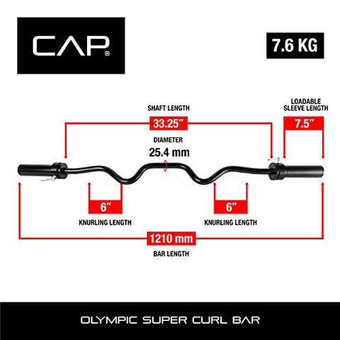 Image of CAP Barbell Olympic Super Curl Bar, Black (2-Inch) - Fitness Gear