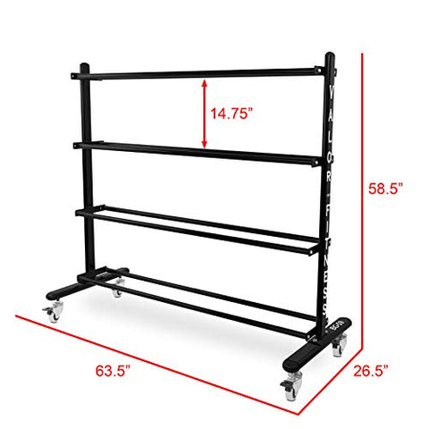 Image of Valor Fitness BG-59 Rolling Rack for Exercise Balls with 4-Tier Shelf - FitnessGearUSA.Com