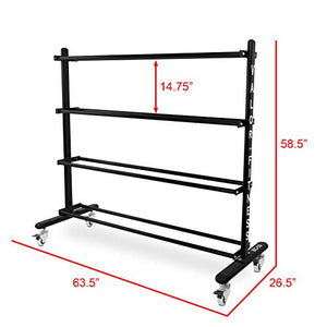 Valor Fitness BG-59 Rolling Rack for Exercise Balls with 4-Tier Shelf - FitnessGearUSA.Com
