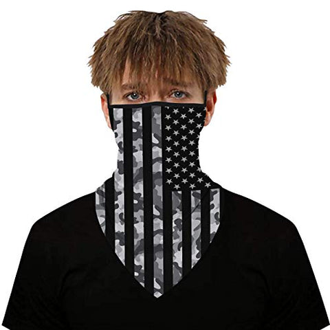 Image of WXXM Bandana Face Mask Ear Loop, Women/Men Scarf Outdoor Headwear Bandana Sports Tube UV Face Mask for Workout Yoga Running American Flag - FitnessGearUSA.Com