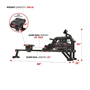 Sunny Health & Fitness Water Rowing Machine Rower w/LCD Monitor - Obsidian SF-RW5713 - Fitness Gear