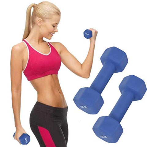 Buedvo Neoprene Dumbbell 1 Pairs - 5 Weight Options, 6-15 LBS - Non-Slip, Hexagon Shape, Color Coded, Easy to Read Hand Weights for Muscle Toning, Strength Building, Weight Loss (6)
