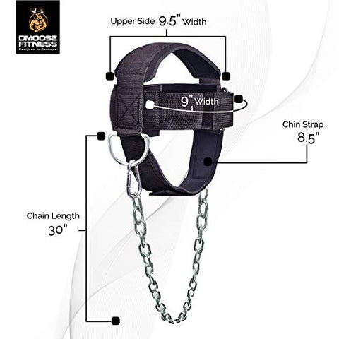 Image of DMoose Fitness Neck Harness for Weight Lifting, Resistance Training, or Injury Recovery with Long Steel Chain, Improve Muscle Strength (Black, with Support Strap)
