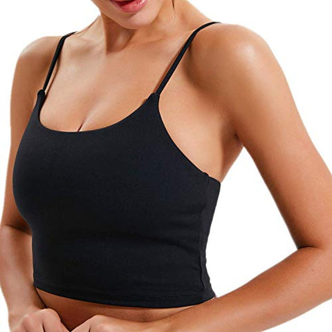 Image of Lemedy Women Padded Sports Bra Fitness Workout Running Shirts Yoga Tank Top (S, Black) - Fitness Gear