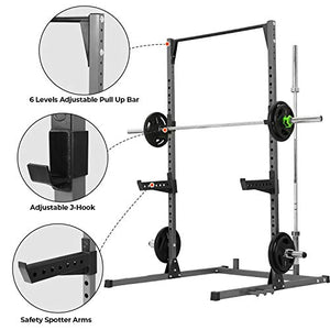 Kicode Power Squat Rack, Heavy Duty Squat Stand Weight Lifting Workout Station, Adjustable Exercise Power Cage with Pull Up Bar for Home Gym - FitnessGearUSA.Com