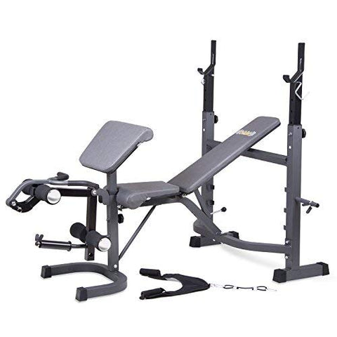 Image of Body Champ BCB5860 Olympic Weight Bench with Preacher Curl, Leg Developer and Crunch Handle, Dark Gray/Black - FitnessGearUSA.Com