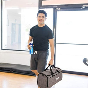 Sports Gym Bag with Shoes Compartment and Wet Pocket Travel Duffel Bag for Men and Women-Gray - FitnessGearUSA.Com