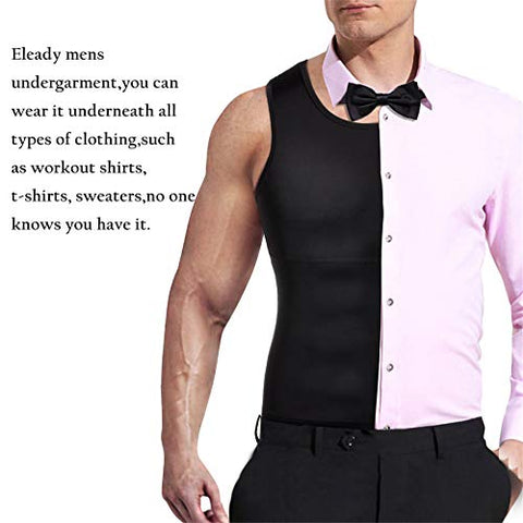 Image of Mens Compression Shirt Slimming Body Shaper Vest Workout Tank Tops Abs Abdomen Undershirts(Black, XL) - FitnessGearUSA.Com