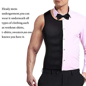 Mens Compression Shirt Slimming Body Shaper Vest Workout Tank Tops Abs Abdomen Undershirts(Black, XL) - Fitness Gear