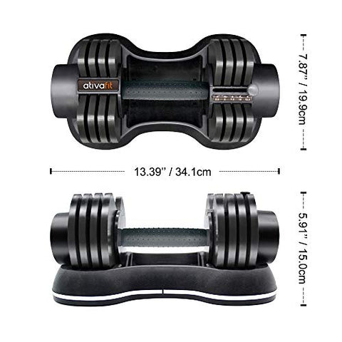 ATIVAFIT Adjustable Dumbbell 27.5 lbs Weights for Gym Home (Single)