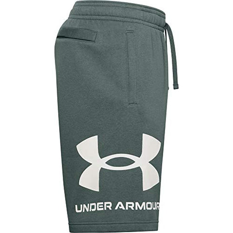 Under Armour Men's Rival Fleece Shorts , Lichen Blue (424)/Onyx White , Large - FitnessGearUSA.Com