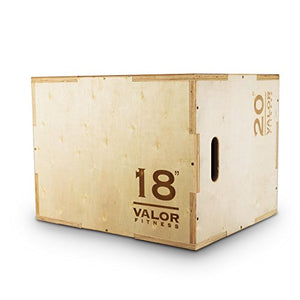"Valor Fitness Plyo Box - Wooden Plyometric Jump Box for Strength and Conditioning Training Box Jump (18"" x 20"" x 24"") - Fitness Gear"
