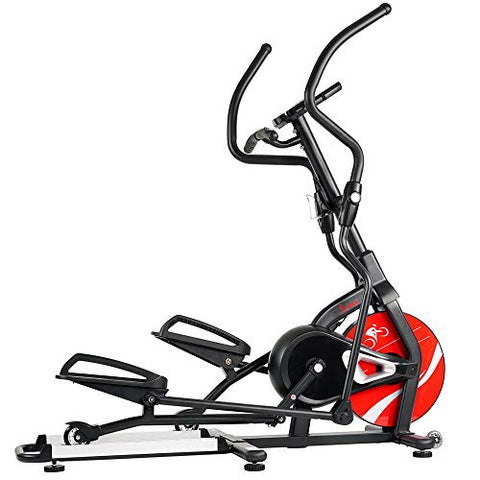 Image of Sunny Health & Fitness Magnetic Elliptical Trainer Machine w/ Tablet Holder, LCD Monitor, 265 Max Weight and Pulse Monitor - Stride Zone - SF-E3865,Black - FitnessGearUSA.Com