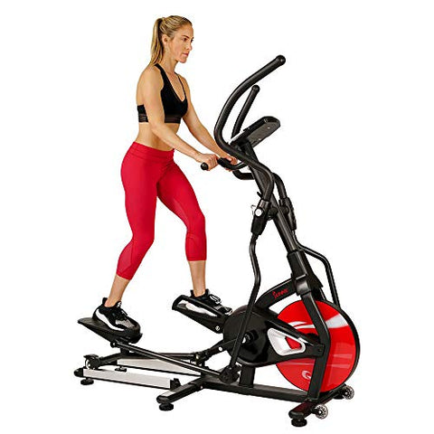 Image of Sunny Health & Fitness Magnetic Elliptical Trainer Machine w/ Tablet Holder, LCD Monitor, 265 Max Weight and Pulse Monitor - Stride Zone - SF-E3865,Black - Fitness Gear