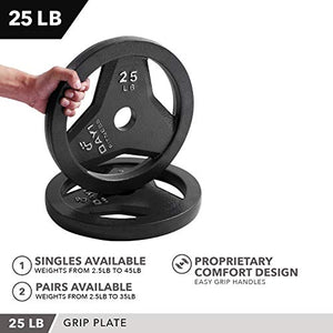 "Day 1 Fitness Cast Iron Olympic 2-Inch Grip Plate for Barbell, 2.5 Pound Set of 2 Plates Iron Grip Plates for Weightlifting, Crossfit - 2"" Weight Plate for Bodybuilding - FitnessGearUSA.Com"