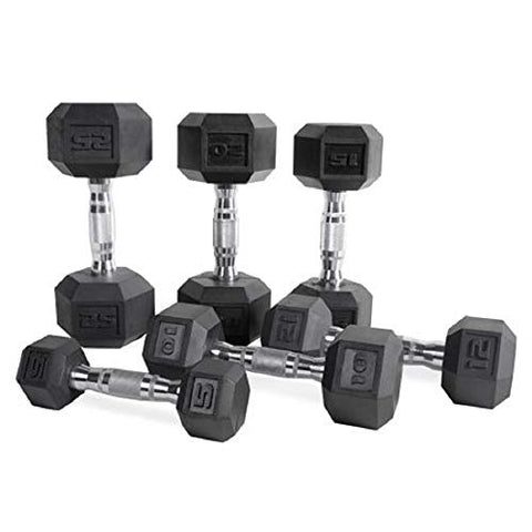 Image of CAP Barbell Set of 2 Hex Rubber Dumbbell with Metal Handles, Pair of 2 Heavy Dumbbells Choose Weight (5lb, 8lb, 10lb, 15lb, 20 Lb, 25lb, 30lb, 35lb, 40lb, 50lb) (20lb x 2) - FitnessGearUSA.Com