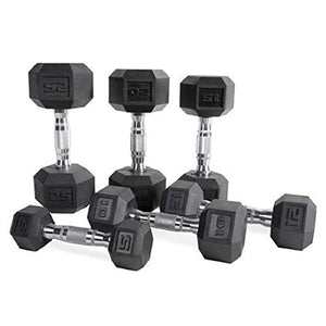 CAP Barbell Set of 2 Hex Rubber Dumbbell with Metal Handles, Pair of 2 Heavy Dumbbells Choose Weight (5lb, 8lb, 10lb, 15lb, 20 Lb, 25lb, 30lb, 35lb, 40lb, 50lb) (20lb x 2) - FitnessGearUSA.Com