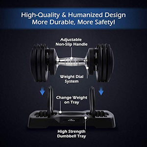 FLYBIRD Adjustable Dumbbells,25 lb Single Dumbbell for Men and Women with Anti-Slip Metal Handle,Fast Adjust Weight by Turning Handle,Black Dumbbell with Tray Suitable for Full Body Workout Fitness - FitnessGearUSA.Com