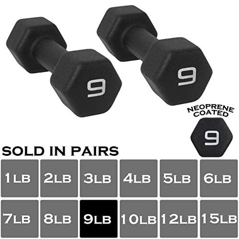 Image of WF Athletic Supply Black Neoprene Dumbbell Set, Non-Slip, Hex Shape, Free Weights Set for Muscle Toning, Strength Building, Weight Loss - Portable Weights for Home Gym Hand Weight - Fitness Gear