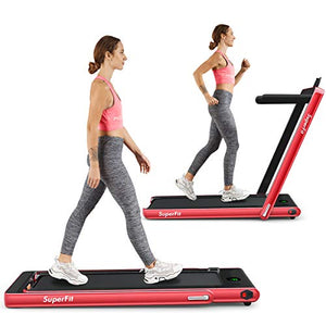Goplus 2 in 1 Folding Treadmill, 2.25HP Under Desk Electric Treadmill, Installation-Free, with Bluetooth Speaker, Remote Control and LED Display, Walking Jogging Machine for Home/Office Use (Red) - Fitness Gear