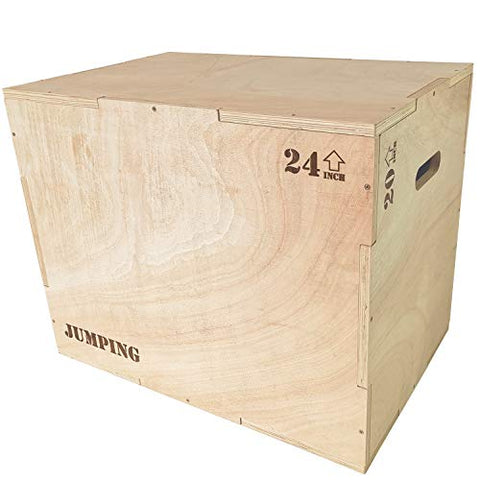 "Image of JacMok Wood Plyometric Box for Exercise 3-in-1 Jumping Box 30""x24""x20"" with Sanded Handle, Rounded Corners, Heavy Duty, Training - FitnessGearUSA.Com"