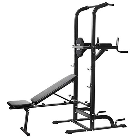 Image of Power Tower Dip Station High Capacity 800lbs w/Weight Sit Up Bench Adjustable Height Heavy Duty Steel Multi-Function Fitness Pull Up Chin Up Tower Equipment for Home Office Gym Dip Stands (Black) - Fitness Gear