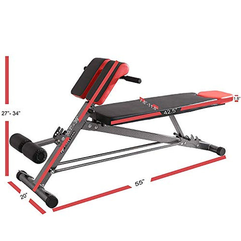 Image of Finer Form UPGRADED Multi-Functional Bench for Full All-in-One Body Workout – Hyper Back Extension, Roman Chair, Adjustable Ab Sit up Bench, Decline Bench, Flat Bench