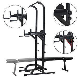 Power Tower Dip Station High Capacity 800lbs w/Weight Sit Up Bench Adjustable Height Heavy Duty Steel Multi-Function Fitness Pull Up Chin Up Tower Equipment for Home Office Gym Dip Stands (Black) - Fitness Gear