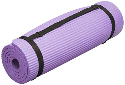 "BalanceFrom GoYoga 7-Piece Set - Include Yoga Mat with Carrying Strap, 2 Yoga Blocks, Yoga Mat Towel, Yoga Hand Towel, Yoga Strap and Yoga Knee Pad (Purple, 1/2""-Thick Mat) - Fitness Gear"
