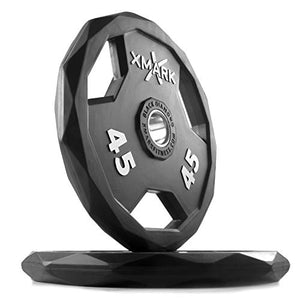 XMark Black Diamond 45 lb Olympic Weight Plates, Patented Design, One Pair - Fitness Gear