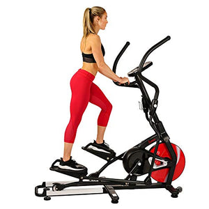 Sunny Health & Fitness Magnetic Elliptical Trainer Machine w/ Tablet Holder, LCD Monitor, 265 Max Weight and Pulse Monitor - Stride Zone - SF-E3865,Black - FitnessGearUSA.Com