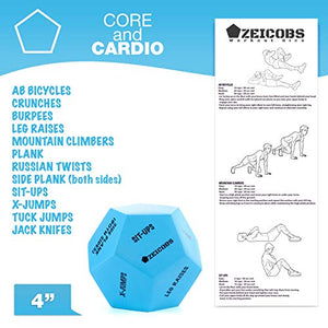 Zeicobs Exercise Dice for Home Workouts - Fitness Dice with 36 Unique Exercises and Instructions - 3 Pack Workout Dice for Gym, Crossfit WOD, Bodyweight HIIT, Cardio and Sports Training - Fitness Gear