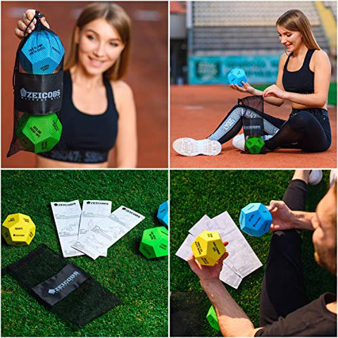 Image of Zeicobs Exercise Dice for Home Workouts - Fitness Dice with 36 Unique Exercises and Instructions - 3 Pack Workout Dice for Gym, Crossfit WOD, Bodyweight HIIT, Cardio and Sports Training - Fitness Gear