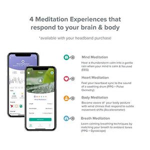 Muse 2: The Brain Sensing Headband - Meditation Tracker Multi Sensor Headset Device - Responsive Sound Feedback for Brain Wave, Heart, Body & Breath Activity - Fitness Gear
