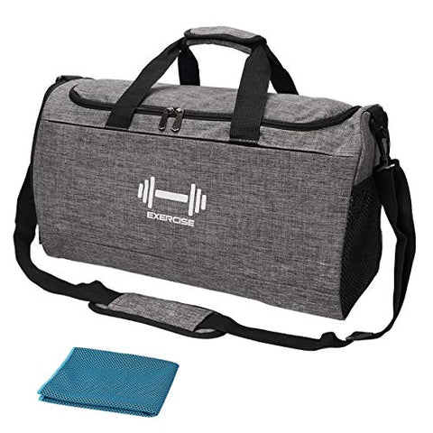 Image of Sports Gym Bag with Shoes Compartment and Wet Pocket Travel Duffel Bag for Men and Women-Gray - FitnessGearUSA.Com